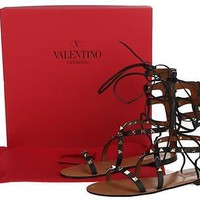 NEW VALENTINO GARAVANI BLACK LEATHER ROCKSTUD FLAT GLADIATOR SANDALS SHOES 37