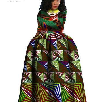 2016 spring new african dresses for women bazin richTraditioncal print long dress long sleeve cotton Classic batik cloth WY840
