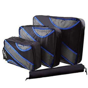 Mooxury 3 Set Packing Cubes Travel Luggage Organizers Mesh Bags with Laundry Bag - Black