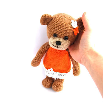 stuffed teddy bear, crocheted brown bear orange skirt, autumn fall stuffed animal amigurumi toy for children, gift for children