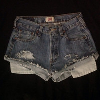 Denim distressed// frayed// levis///shorts// daisy dukes // fringed // boho // festival // hippie