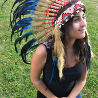 Unisex Electric Blue Chief Indian Headdress 75cm, Native American Costume Hand Made Feathers War Bonnet Hat