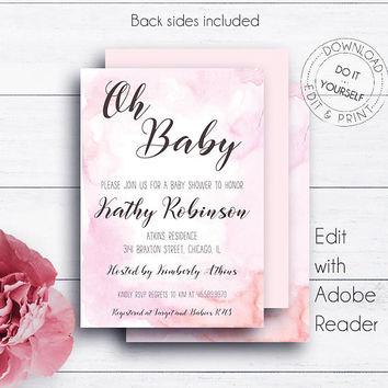 Baby Girl Watercolor Invite, Shower Invitation, Printable, Oh Baby, Pink Watercolor, Baby Shower Invite, Newborn, DIY Template, Chic
