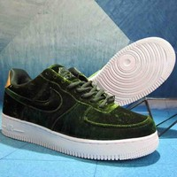 NIKE Air Force One Velvet Built-in Cushion Fashion Casual Shoes F-A36H-MY green