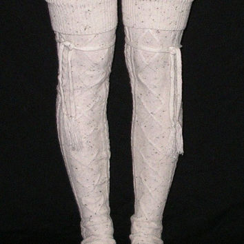 Alpine Thigh High Slouch Socks Tweed Cream Oatmeal Boot Socks Tie Top Tassels Diamond Cable Knit Fold Down Cuffs Thick Warm Over The Knee