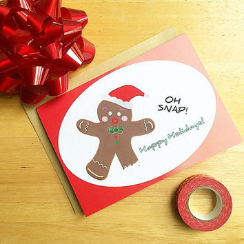 Pack Of 5 or 10 Gingerbreadman Card-Oh Snap, Happy Holidays. 5x7 Card. Gingerbread Holiday Card. Funny Christmas Card.