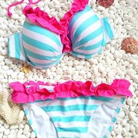 Fashion Sexy Blue and White Stripes Bikini from styleonline