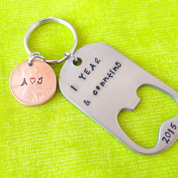 Anniversary Keychain, Anniversary gift, Initials, Penny, stamped penny, Penny Keychain, our first anniversary, 1 year and counting, Bottle Opener