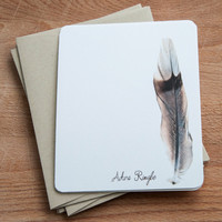Feather Stationary,  Set of 12 Note Cards, Eco Friendly, Personalized stationary