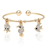 Sweet & Soft Gold & White Sea Creatures Cuff Made With SWAROVSKI ELEMENTS | zulily