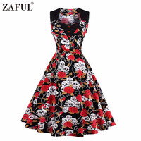 ZAFUL Women Summer Dress 2017 Floral Retro Vintage 50s 60s Casual Party Robe Rockabilly skull Dresses Plus Size Vestidos mujer