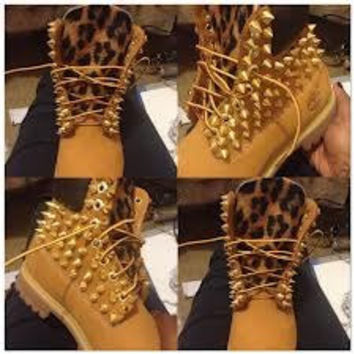 Leopard Print Spiked Timberlands