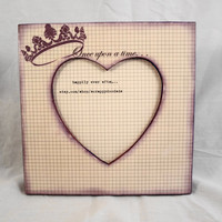 Crown Once Upon a Time on Graph looking Paper Heart Frame by ScrappyDoodads