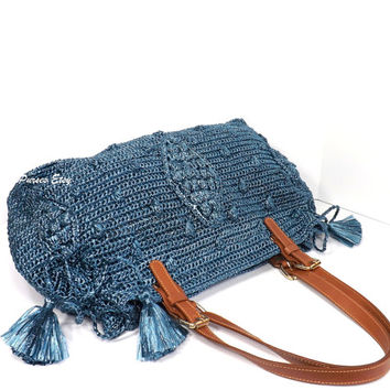 ON SALE Gerard Darel Woodstock Raffia Style Handbag with Genuine Leather Handles /SMOKY Blue/, Straw Tote Bag, Gift Idea