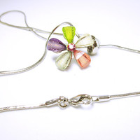 VINTAGE Flower Necklace Colorful Flower Petals With Gold Flecks Box Style Silver Chain Petite Flower Pendant Necklace