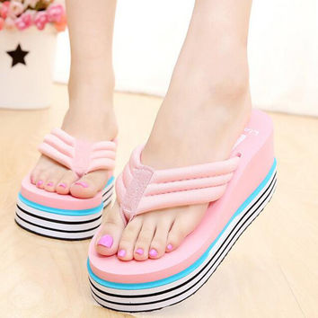 Hot 2017 rainbow High Heels Women Flip Flops Summer Sandals Platform Wedges Slippers Girl's Fashion Beach Shoes z517