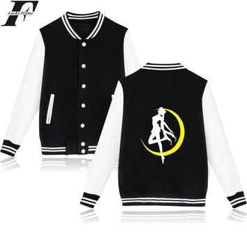 LUCKYFRIDAYF Sailor Moon Cartoon Long Sleeve Baseball Jacket Women Spring Jacket O-Neck Cotton Womens Winter Jackets And Coats