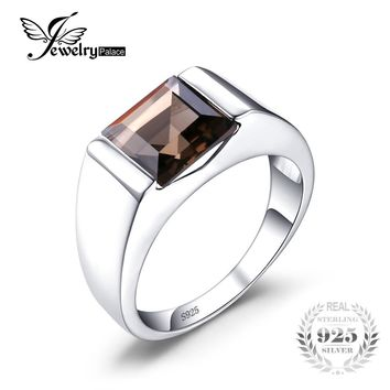 JewelryPalace Men's Square 2.2ct Genuine Smoky Quartz Wedding Ring Genuine  925 Sterling Silver New Fashion Fine Jewelry
