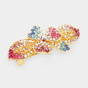 Floral Crystal Pave Accent Hair Barrette