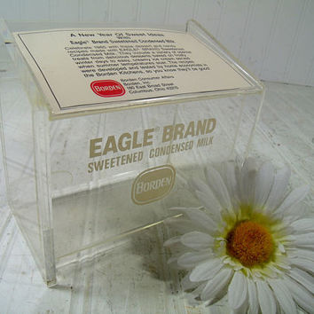 Eagle Brand Recipe Box by Borden Clear Lucite Card Holder - Sweetened Condensed Milk Collectible Container Holds & Protects File Cards Stand