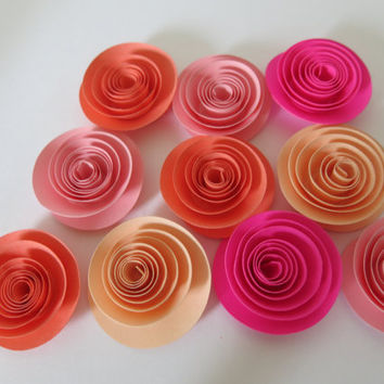 """Pink paper flower set, 10 tropical roses, Hawaiian Luau Party decorations, shades of pink, Princess Birthday decor, Wedding table, 1.5"""" rose"""