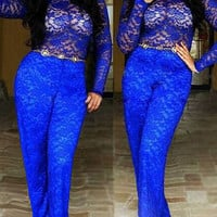Sexy Royal Blue Slim Fit Lace Jumpsuit
