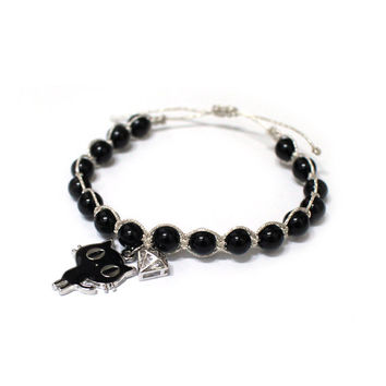 Cat cord bracelet, Onyx bracelet, Silver glitter cord bracelet with Black cat and diamond shaped zircon