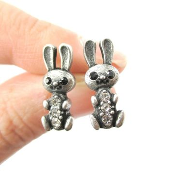 Baby Bunny Rabbit Shaped Stud Earrings in Silver with Rhinestones | Animal Jewelry