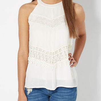 Ivory Crochet Inset Gauze High Neck Tank
