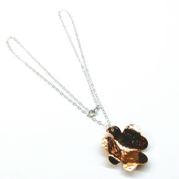 Copper Hammer Sculpted Shamrock Silver Chain Necklace