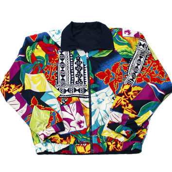 Vintage 90s Hawaiian Print Reversible Nylon Jacket Mens Size Medium