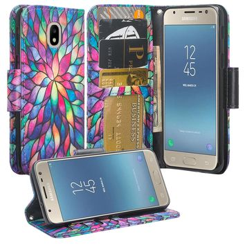 Samsung Galaxy J3 (2018) Case, Express Prime 3 Wallet Case,SM-J337A Wallet Cases, Wrist Strap Pu Leather Wallet Case [Kickstand] with ID & Credit Card Slots - Rainbow Flower