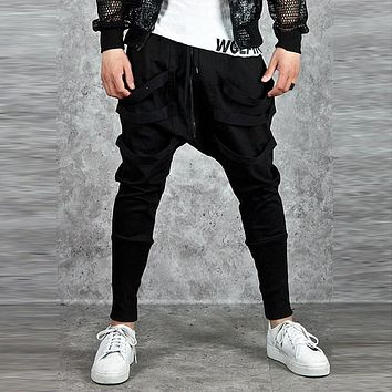 2017 New Fashion Men Harem Pants Skinny Casual Jogger Sweatpants Black Hip Hop Hippy Dance Streetwear Long harem Trousers Slacks