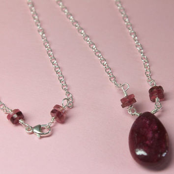 Genuine Semiprecious Ruby and Tourmaline Sterling Silver Jewelry Pear Shaped Briolette Ruby Cabochon Necklace