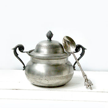 Vintage sugar bowl. Victorian style bowl and vintage souvenir spoon . Pewter sugar bowl ,Sugar Set