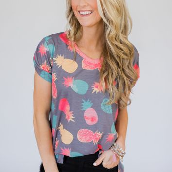 Sweet on the Inside Pineapple Top- Bluish Grey