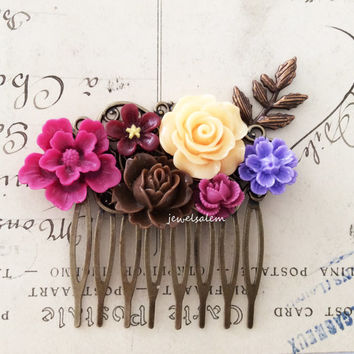 Autumn Wedding Hair Comb Maroon Red Brown Wine Burgundy Purple Peach Flower Bridal Headpiece Floral Pin Fall Woodland Rustic Bridesmaid WR