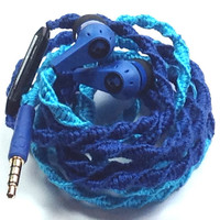 Blue Belle - Tangle Free Earbuds - Wrapped Headphones - Your Choice of Headphones