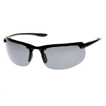 Mens Lightweight Sports Polarized Lens Semi Rimless Sunglasses 8746