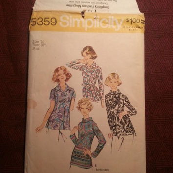 Uncut Simplicity Sewing Pattern, 5359! Size 14 Bust 36 Medium/Women's/Misses/Stand Up Collared Blouses/Button Up shirts/Long Hip Length Top