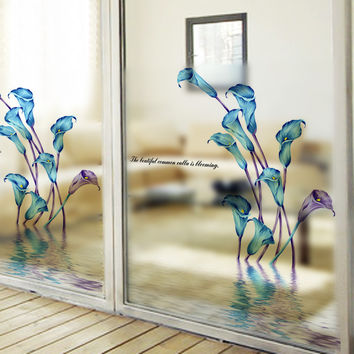 60x58cm Easily Remove decorative film calla lily Window Film stickers UV Rejection reflective window film stained glass stickers
