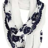 Floral Embroidered Woven Scarf -