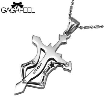 Fashion Men Women Titanium Stainless Steel Silver Color Cross Pendant Necklaces Crystal Fine Jewelry Zodiac Scorpio Best Gifts