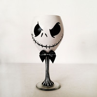 Mr. Skellington Wine Glass - Nightmare before christmas - pin stripe stem - 3d bow - 20 oz