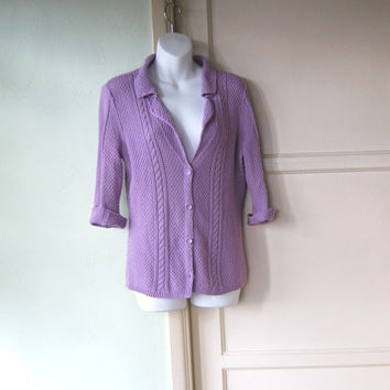 Light Grape Purple Cardigan - Medium Old Man Grunge Cardi - Cabled Purple Button Up Sweater - Medium Cardigan with Collar - Granny Cardi