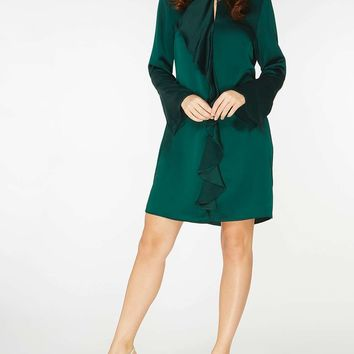Green Ruffle Front Shift Dress | Dorothyperkins