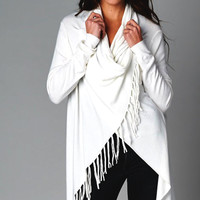 City Girl Poncho Fringe Sweater