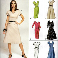 Vogue Easy Options Sewing Pattern 7688 Retro Style A-line Sheath Dress Flared Skirt V or Square Neck Full Figure Plus Size Bust 40
