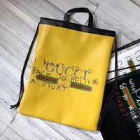 Gucci men and women exquisite trend fashion elegant backpack F Yellow
