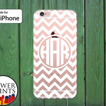White Chevron Pattern Custom Monogram Cute Gift Clear Rubber Phone Case for iPhone 5/5s and 5c and iPhone 6 and 6 Plus + and iPhone 6s